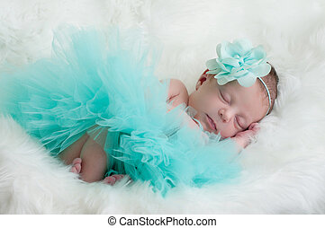 Newborn portrait of baby girl in teal tutu and flower...