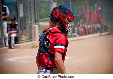 Youth baseball catcher - American youth baseball catcher...