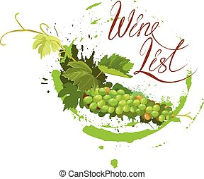 Bunch of green grapes with leaves and wine stain isolated on...