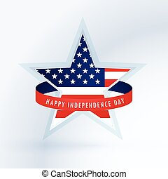 star with american flag. 4th of july design