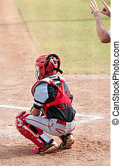 Youth baseball catcher - American baseball catcher in black...