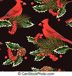 Seamless cardinal and holly - Nothern cardinal and holly...