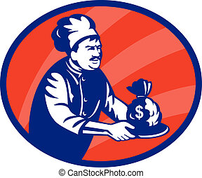 Baker chef or cook serving up bag of money in a plate -...