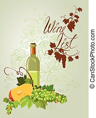 Wine bottle, cheese and green grapes and leaves on beige...