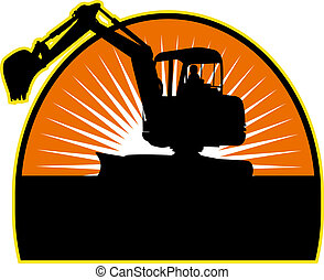 Mechanical Digger with sunburst in background - illustration...