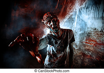 disgusting man - Terrible bloody zombie man with the brains...