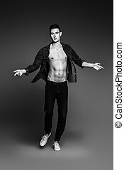 fashion male model - Black-and-white portrait of the...