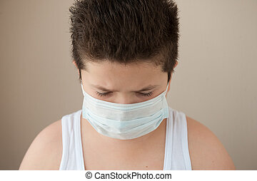 little boy wearing surgical mask - fat boy wearing shirt and...