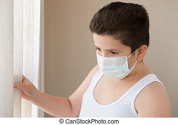 穿, 男孩, 襯衫, 面罩, 外科, 肥胖, 看, 窗口, 在外