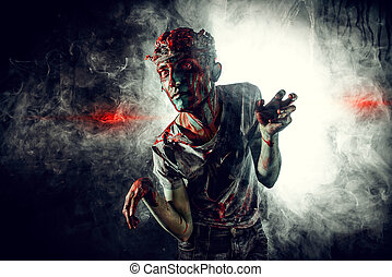massacre - Terrible bloody zombie man with the brains out in...