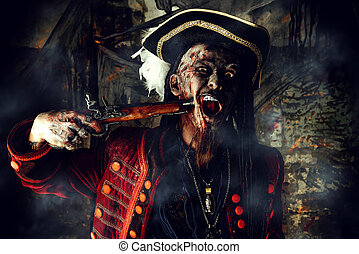 pirate with musket - Horror novel character. Aggressive...