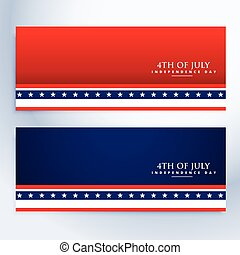 clean 4th of july american banners