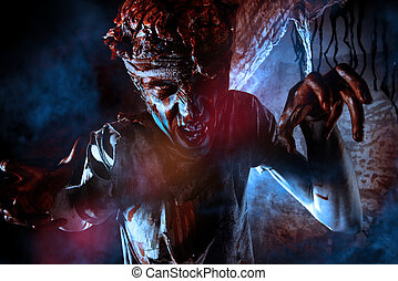 time doomsday - Bloody zombie man with brains out. Horror....