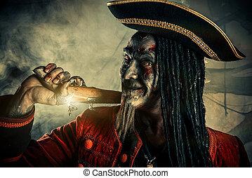 undead zombie pirate - Portrait of a noble brave dead...