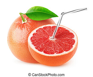 Isolated grapefruit juice. One and a half pink grapefruit...