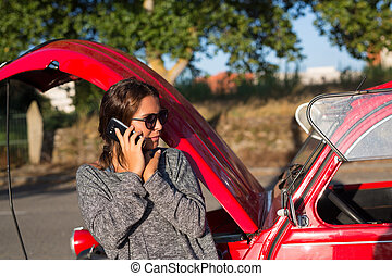 Oh no! Vacations are just starting! - Woman on a roadtrip...