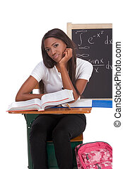 Black college student woman studying math exam - Stressed...