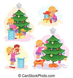 Set of icons little girl opening Christmas presents
