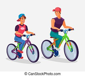 Two young men riding bicycles - Vector illustration of two...