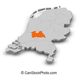 Map - Netherlands, Utrecht - 3D-Illustration - Map of...