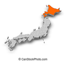 Map - Japan, Hokkaido - 3D-Illustration - Map of Japan as a...