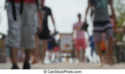Crowd of tourists in the resort city - Crowds of tourists in...