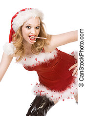 Excited pin up Mrs Santa Claus with candy cane
