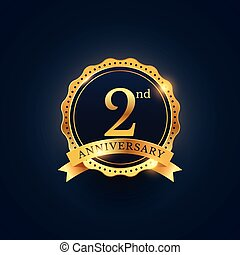 2nd anniversary celebration badge label in golden color