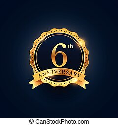 6th anniversary celebration badge label in golden color
