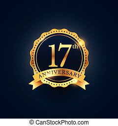 17th anniversary celebration badge label in golden color