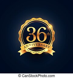 36th anniversary celebration badge label in golden color