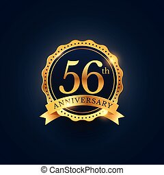 56th anniversary celebration badge label in golden color