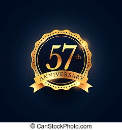 57th anniversary celebration badge label in golden color