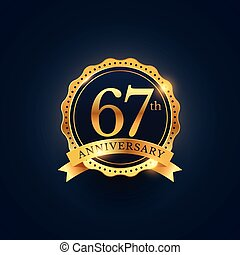 67th anniversary celebration badge label in golden color