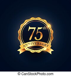 75th anniversary celebration badge label in golden color