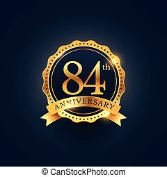 84th anniversary celebration badge label in golden color