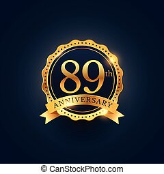 89th anniversary celebration badge label in golden color