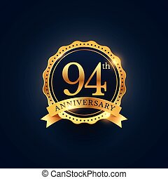 94th anniversary celebration badge label in golden color