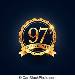 97th anniversary celebration badge label in golden color
