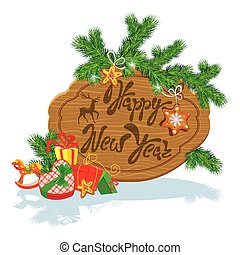 Holiday Card with wooden frame,  fir tree branches, xmas gingerbread, presents and gifts isolated on white background. Hand written calligraphic text Happy New Year.