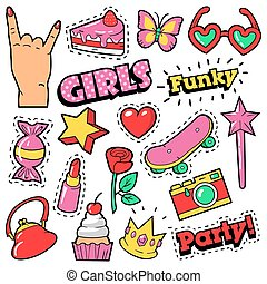 Fashion Girls Badges, Patches, Stickers - Cake, Hand, Heart,...