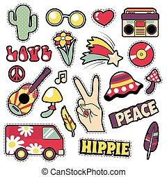 Fashion Hippie Badges, Patches, Stickers - Van Mushroom Guitar and Feather in Pop Art Comic Style. Vector illustration