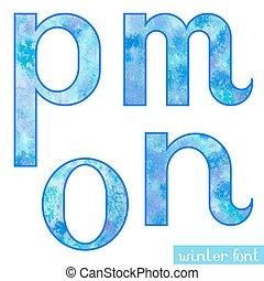 Winter watercolor font M,N,O,P