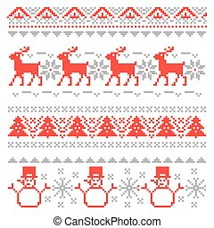 Merry Christmas Traditional Scandinavian Knitting Pixel...