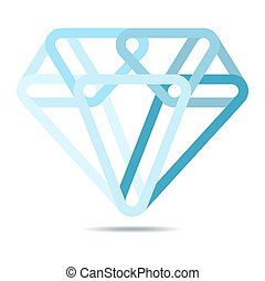 Diamond icon. Vector illustration. - Simple diamond icon in...