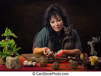 Fortuneteller works with gemstones - Portrait of gorgeous...