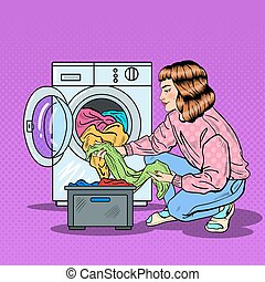 Pop Art Housewife Doing Laundry in Washing Machine. Vector illustration
