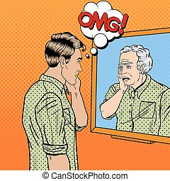 Pop Art Shocked Man Looking at Older Himself in the Mirror. Vector illustration