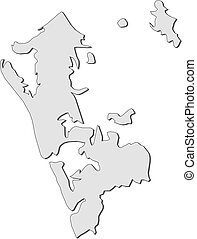 Map - Auckland (New Zealand) - Map of Auckland, a province...