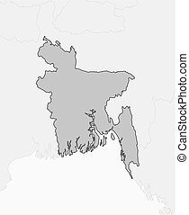 Map - Bangladesh - Map of Bangladesh and nearby countries,...